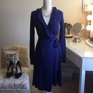 Beautiful sweater wrap dress with ruffle detail